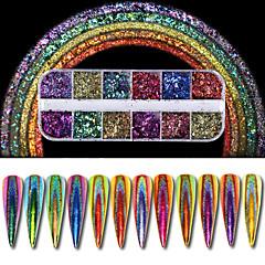 abordables Modelado de Diamantes Sintéticos-1 juego Glitters Lujo Elegante Nail Glitter Glitter Powder Polvo Consejos para arte de uñas Nail Art Design