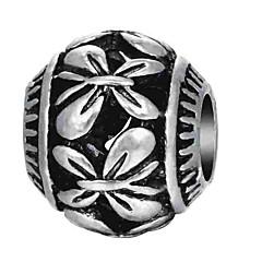 cheap Beads & Jewelry Making-DIY Jewelry 1 pcs Beads Alloy Silver Oval Bead 0.2 cm DIY Necklace Bracelet