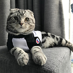 お買い得  猫の服-ネコ 犬 Tシャツ 犬用ウェア ジャパン/コリアスタイル カジュアル/普段着 カラーブロック ブラック レッド コスチューム ペット用