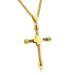 Недорогие Ожерелья-Муж. Ожерелья с подвесками - Крест Мода Золотой, Серебряный Ожерелье Бижутерия Назначение Повседневные