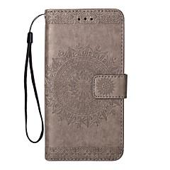 Недорогие Чехлы и кейсы для Galaxy Note 5-Кейс для Назначение SSamsung Galaxy Note 8 Note 5 Бумажник для карт Кошелек со стендом Флип Рельефный Сплошной цвет Твердый Кожа PU для