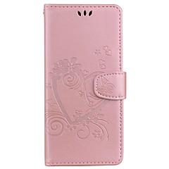 Недорогие Чехлы и кейсы для Galaxy Note 5-Кейс для Назначение Samsung Note 8 Note 5 Бумажник для карт со стендом Флип С узором Рельефный Чехол С сердцем Твердый Кожа PU для Note 8