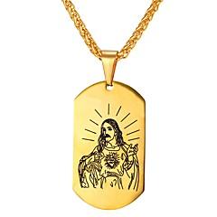 Недорогие Ожерелья-Муж. Ожерелья с подвесками - Нержавеющая сталь Винтаж Золотой, Серебряный Ожерелье 1 Назначение Повседневные, Для улицы