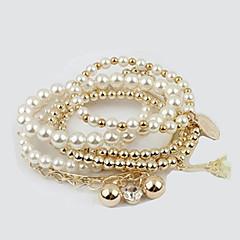 女性用 チャームブレスレット ラップブレスレット ファッション 人造真珠 幾何学形 星形 ジュエリー 日常