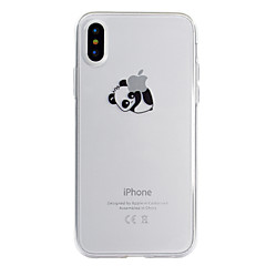 baratos Capinhas para iPhone-Capinha Para Apple iPhone X / iPhone 8 Transparente / Estampada Capa traseira Brincadeira Com Logo da Apple / Panda Macia TPU para iPhone XS / iPhone XR / iPhone XS Max