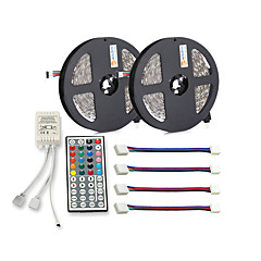 cheap LED Strip Lights-ZDM® 300 LEDs 2x 5M LED Strip Light 1 44Keys Remote Controller 4 Connectors RGB Cuttable Self-adhesive DC 12V