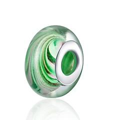お買い得  ビーズ&ジュエリー製作-DIYジュエリー 1 個 ビーズ ガラス シルバー グリーン 迷彩色 ボール型 ビーズ 1.5 cm DIY ネックレス ブレスレット