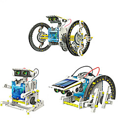 abordables Modelos de Exposición-14 in 1 GE615 Robot Juguetes de energía solar Vehículos Coche Transformable Manualidades ABS Niños Chico Chica Juguet Regalo