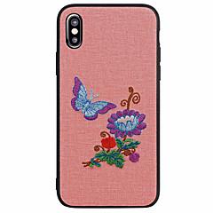 Недорогие Кейсы для iPhone 7 Plus-Кейс для Назначение Apple iPhone X iPhone 8 Матовое С узором Задняя крышка Бабочка Цветы Мягкий Искусственная кожа для iPhone X iPhone 8