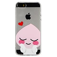 Недорогие Кейсы для iPhone 5-Кейс для Назначение Apple iPhone 7 iPhone 6 Полупрозрачный Рельефный С узором Задняя крышка С сердцем Мультипликация Мягкий TPU для