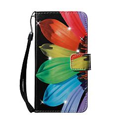 Недорогие Кейсы для iPhone 5-Кейс для Назначение Apple iPhone 8 iPhone 8 Plus Бумажник для карт Кошелек Стразы со стендом С узором Чехол Цветы Твердый Кожа PU для