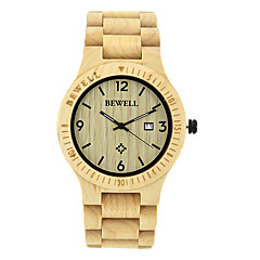 preiswerte Herrenuhren-Herrn Uhr Holz Einzigartige kreative Uhr Armbanduhr Japanisch Quartz Kalender Wasserdicht Holz Band Luxus Braun