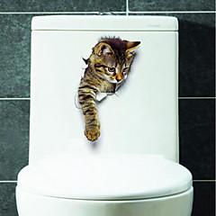 お買い得  ステッカー&デカール-動物 ウォールステッカー 3D ウォールステッカー トイレステッカー, ビニール ホームデコレーション ウォールステッカー・壁用シール トイレ