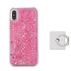 Недорогие Кейсы для iPhone-Кейс для Назначение Apple iPhone X Движущаяся жидкость Кольца-держатели Кейс на заднюю панель Сплошной цвет Твердый пластик для iPhone X