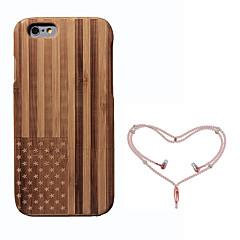Недорогие Кейсы для iPhone-Кейс для Назначение Apple iPhone 6 Защита от удара Флаг Твердый Бамбук для iPhone 6s iPhone 6