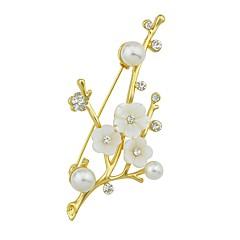お買い得  ブローチ-女性用 ブローチ 人造真珠 , シンプル ベーシック 合金 命の木 ジュエリー 用途 日常 新年