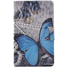 Недорогие Чехлы и кейсы для Galaxy Tab 3 Lite-Кейс для Назначение SSamsung Galaxy Tab 3 Lite Бумажник для карт / со стендом / Флип Чехол Бабочка Твердый Кожа PU для Tab 3 Lite
