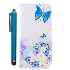 Недорогие Кейсы для iPhone-Кейс для Назначение Apple iPhone X iPhone 8 Plus Бумажник для карт Кошелек со стендом Флип Магнитный Чехол Бабочка Цветы Твердый Кожа PU