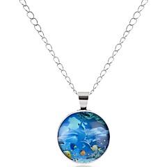 preiswerte Halsketten-Damen Jade Anhängerketten - Delphin Hip-Hop Silber Modische Halsketten 1 Für Hochzeit, Verabredung