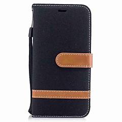 お買い得  iPhone 5S/SE ケース-ケース 用途 Apple iPhone X iPhone 8 Plus カードホルダー ウォレット スタンド付き フリップ 磁石バックル フルボディーケース 純色 ハード 繊維 のために iPhone X iPhone 8 Plus iPhone 8 iPhone 7