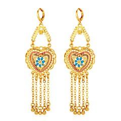 levne Dámské šperky-Dámské Třásně Náušnice - Kruhy - Pozlacené Srdce Klasické, Vintage Zlatá Pro Večerní oslava / Maturitní ples