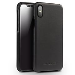 Недорогие Кейсы для iPhone-Кейс для Назначение Apple iPhone X Защита от удара Кейс на заднюю панель Сплошной цвет Твердый Настоящая кожа для iPhone X