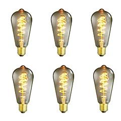 abordables LED e Iluminación-6pcs 40W E26/E27 ST64 Blanco Cálido 2200-2700 K Retro Regulable Decorativa Bombilla incandescente Vintage Edison 220-240V V