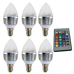 cheap LED Bulbs-YWXLIGHT® 6pcs 4W 300-400 lm E14 LED Candle Lights 1 leds High Power LED Dimmable Decorative Remote-Controlled RGB