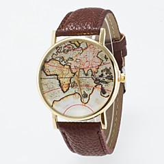 preiswerte Herrenuhren-Herrn Damen Quartz Modeuhr Chinesisch Armbanduhren für den Alltag Leder Band Retro Weltkarte Muster Schwarz Blau Rot Orange Grün Rosa