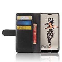 お買い得  Huawei Pシリーズケース/ カバー-ケース 用途 Huawei P20 lite P20 Pro カードホルダー ウォレット スタンド付き フリップ 磁石バックル フルボディーケース ソリッド ハード 本革 のために Huawei P20 lite Huawei P20 Pro Huawei P20 P10