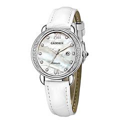 preiswerte Damenuhren-CADISEN Damen damas Armbanduhren für den Alltag Modeuhr Japanisch Quartz 30 m Wasserdicht Kalender Armbanduhren für den Alltag Echtes Leder Band Analog Modisch Elegant Weiß / Lila - Weiß Purpur