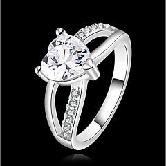 preiswerte Ringe-Damen Kubikzirkonia Statement-Ring - versilbert Herz Modisch 7 / 8 Silber Für Alltag