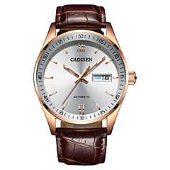 お買い得  メンズ腕時計-CADISEN 男性用 カジュアルウォッチ ファッションウォッチ 日本産 自動巻き 50 m 耐水 カレンダー 夜光計 レザー バンド ハンズ ファッション ブラウン - ホワイト / ベージュ 2年 電池寿命 / ステンレス