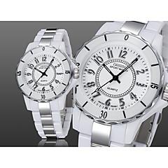 preiswerte Armbanduhren für Paare-OHSEN Damen / Paar Armbanduhren für den Alltag / Modeuhr / Kleideruhr Chinesisch Wasserdicht / Armbanduhren für den Alltag Legierung Band Luxus / Freizeit Schwarz / Weiß
