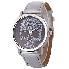 preiswerte Armbanduhren für Paare-Damen Paar Armbanduhren für den Alltag Quartz Armbanduhren für den Alltag Leder Band Analog Freizeit Totenkopf Schwarz / Silber / Rot - Hellblau Braun Goldenbraun