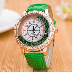preiswerte Damenuhren-Damen Quartz Facettierte Kristalluhren Chinesisch Armbanduhren für den Alltag Leder Band Mehrfarbig Modisch Schwarz Weiß Blau Rot Braun