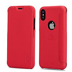 Недорогие Кейсы для iPhone-Кейс для Назначение Apple iPhone X iPhone 8 Бумажник для карт Защита от удара Флип Матовое Чехол Сплошной цвет Твердый Кожа PU для iPhone