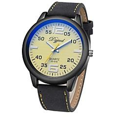 preiswerte Herrenuhren-Herrn Modeuhr Japanisch Quartz 30 m Armbanduhren für den Alltag Leder Band Analog Freizeit Schwarz - Weiß Schwarz Schwarz / Gelb