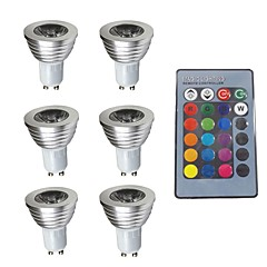abordables Bombillas LED-6pcs 3W 280lm GU10 Focos LED 1 Cuentas LED Regulable Decorativa Control Remoto RGB 200-240V