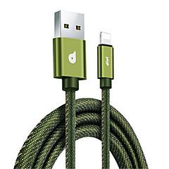 tanie -Podświetlenie Adapter kabla USB Szybka opłata Wysoka prędkość Kable Na Macbook iPad iPhone MacBook Air MacBook Pro 120 cm Włókienniczy