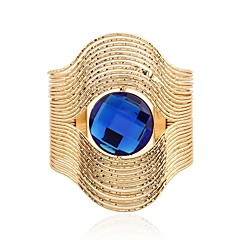 cheap Bracelets-Women's Synthetic Sapphire Stainless Steel Oversized Cuff Bracelet - Vintage Oversized Fashion Circle Gold Silver Bracelet For Ceremony