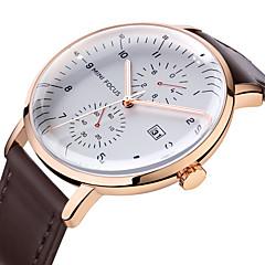 preiswerte Herrenuhren-MINI FOCUS Herrn Armbanduhren für den Alltag Japanisch Quartz Echtes Leder Bandmaterial Schwarz / Braun Kalender Armbanduhren für den Alltag Cool Analog Modisch - Weiß Schwarz Braun