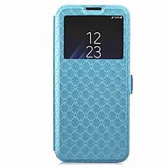 voordelige Galaxy S6 Hoesjes / covers-hoesje Voor Samsung Galaxy S9 S9 Plus Kaarthouder Portemonnee met standaard met venster Flip Magnetisch Volledig hoesje Geometrisch