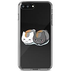Недорогие Кейсы для iPhone 7 Plus-Кейс для Назначение Apple iPhone 8 Plus iPhone 7 Plus Защита от удара Прозрачный С узором Кейс на заднюю панель Кот Мягкий ТПУ для iPhone