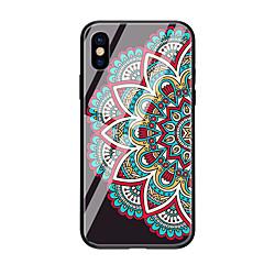 Недорогие Кейсы для iPhone 6 Plus-Кейс для Назначение Apple iPhone X iPhone 8 С узором Кейс на заднюю панель Мандала Твердый Закаленное стекло для iPhone X iPhone 8 Pluss