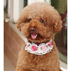 お買い得  犬用首輪/リード/ハーネス-犬用 猫用 カラー サイズが調整できます。 折り畳み式 高通気性 デコレーション メッシュ フラワー PUレザー ホワイト ピンク