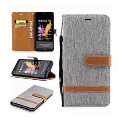 Недорогие Чехлы и кейсы для Motorola-Кейс для Назначение Huawei Motorola Бумажник для карт Кошелек со стендом Флип Чехол Полосы / волосы Твердый текстильный для Мото G5 Plus