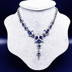 お買い得  ネックレス-女性用 フラワー ラインストーン Y-ネックレス  -  ファッション 欧風 ブルー 40cm ネックレス 用途 結婚式 パーティー