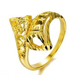 お買い得  指輪-ゴールドメッキ バンドリング - 幾何学形 ファッション ゴールド リング 用途 パーティー / 贈り物