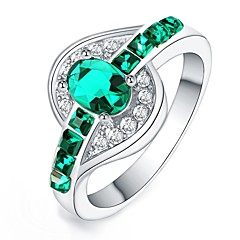 cheap Rings-Women's Crystal / Zircon / Silver Plated Statement Ring - Irregular Fashion Green / Blue / Pink Ring For Daily